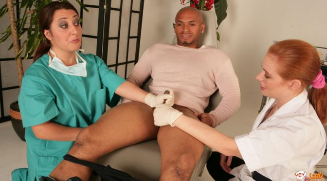 Chick dentist and her nurse discover patient has a diminutive jizz-shotgun